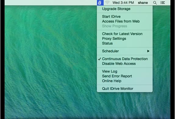 IDrive Status Item - IDrive For Mac